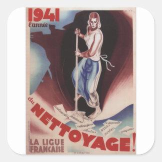 Nettoyage Propaganda Poster Square Sticker