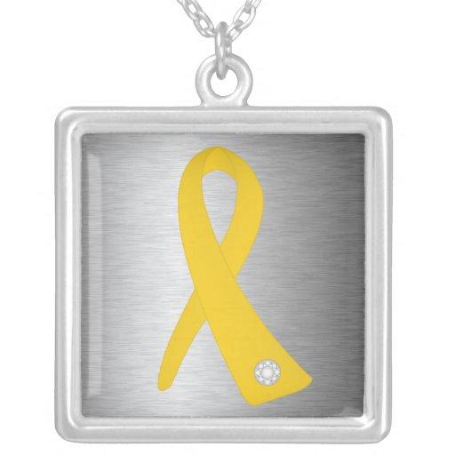 Neuroblastoma Cancer Awareness Ribbon Personalized Necklace