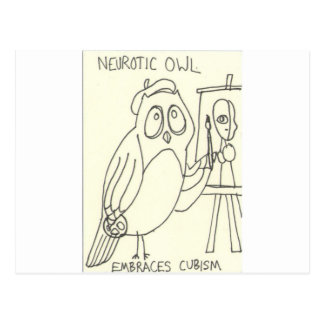 Neurotic Owl Embraces Cubism Postcard