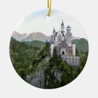 Neuschwanstein Castle 5 Round Ceramic Ornament