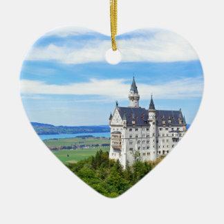 neuschwanstein castle ceramic heart ornament