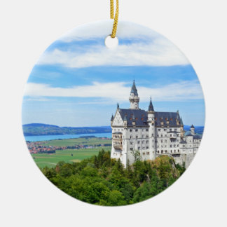neuschwanstein castle round ceramic ornament