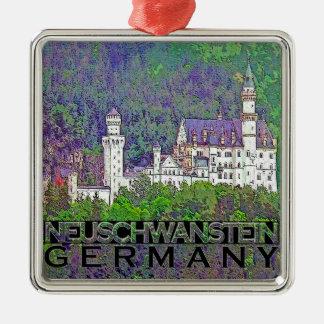 Neuschwanstein Silver-Colored Square Ornament