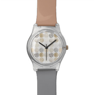 Neutral Abstract Circle Pattern Wrist Watch