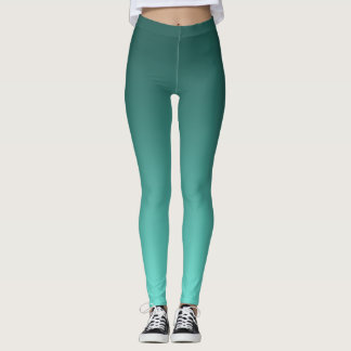 Neutral and Plain Gradient Teal Leggings