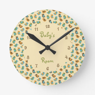 Neutral Baby Birds Personalized Clock