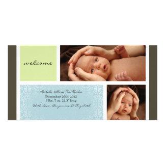 Neutral Baby Photocard Announcement Custom Photo Card