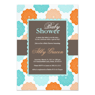 Neutral Baby Shower Invitation, Orange, Aqua, 976 Card