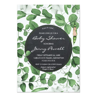 neutral baby shower invitation pea in a pod