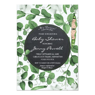 neutral baby shower invitation twins peas in a pod