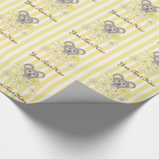 Neutral Baby Shower | Kids Birthday Yellow Striped Wrapping Paper