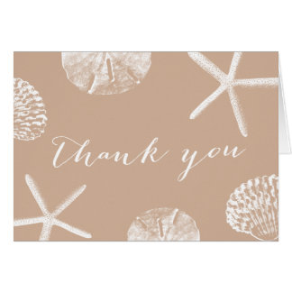 Neutral Beach Theme Seashells Thank You Cards