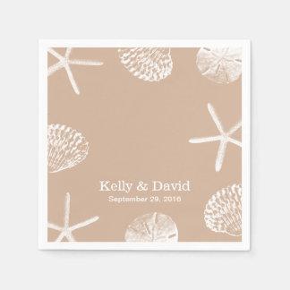 Neutral Beige Beach Theme Seashells Wedding Disposable Napkins
