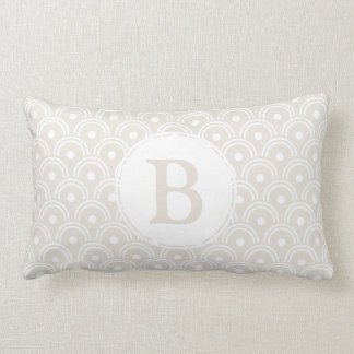 Neutral Beige Japanese Scallops & Initial Letter Lumbar Pillow