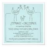 """Neutral Birds Modern Family Couple Boy Baby Shower 5.25"""" Square Invitation Card"""