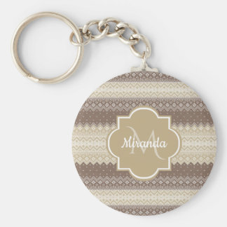 Neutral Brown and Tan Knit Pattern With Name Keychain