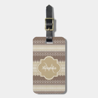 Neutral Brown and Tan Knit Pattern With Name Luggage Tag