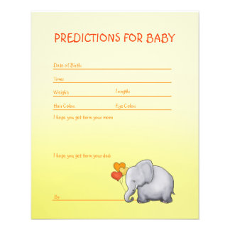 Neutral Cute Elephant Baby Shower Predictions Game Flyer