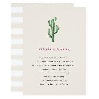 Neutral Desert   Cactus Wedding Invitation