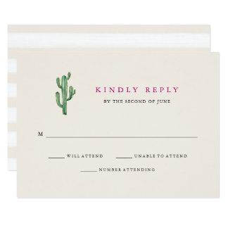 Neutral Desert   Cactus Wedding Response Card