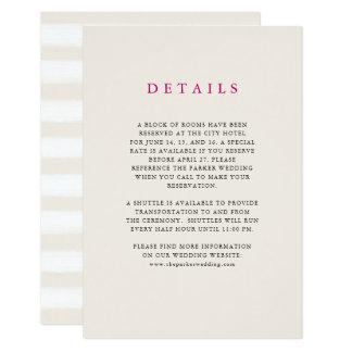 Neutral Desert Stripes   Wedding Guest Details Card