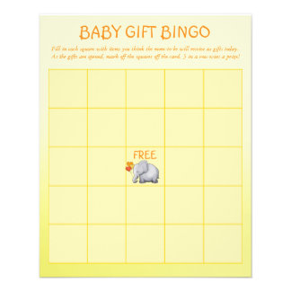 Neutral Elephant Baby Shower Baby Gift Bingo Game Flyer