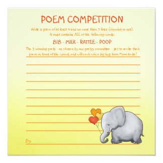 Neutral Elephant Baby Shower Poem Competition Game Card
