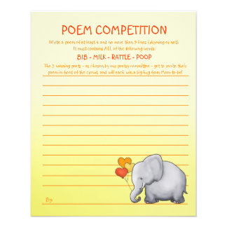 Neutral Elephant Baby Shower Poem Competition Game Flyer