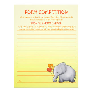 Neutral Elephant Baby Shower Poem Competition Game Letterhead