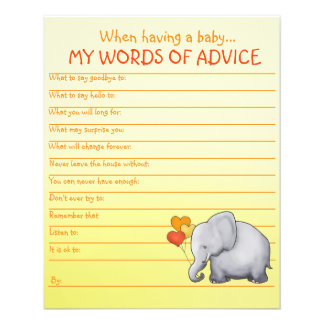 Neutral Elephant Baby Shower Words of Advice Game Flyer