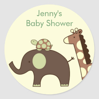 Neutral Elephant Giraffe Stickers Envelope Seals