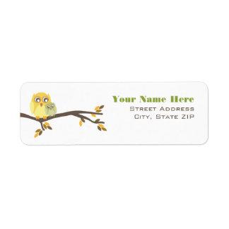 Neutral Fall Baby Shower Label Mom & Baby Owl Return Address Label