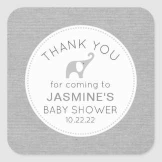 Neutral Gender Gray Elephant baby shower favor Square Sticker