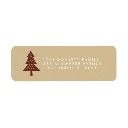 Neutral Happy Holidays Xmas Tree Address Labels