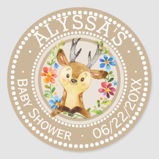 Neutral Little Deer Baby Shower | Personalized Classic Round Sticker