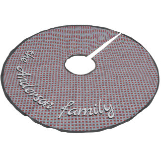 Neutral Rustic Wicker Silver with Custom Text Brushed Polyester Tree Skirt