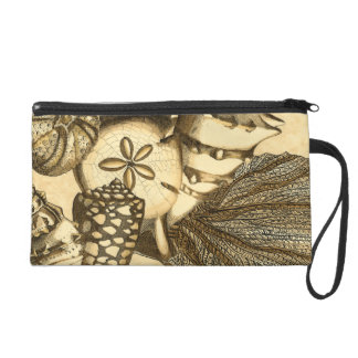 Neutral Shells and Coral Collection Wristlet Clutch