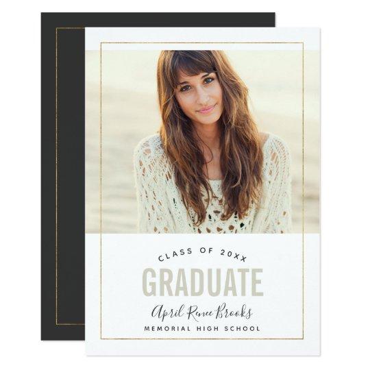 Neutral Shine Photo Graduation Party Invitation