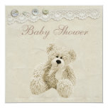 "Neutral Teddy Bear Vintage Lace Baby Shower 5.25"" Square Invitation Card"