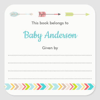 Neutral Tribal bookplate for book baby shower Square Sticker