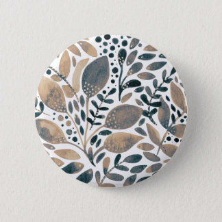Neutral watercolor leaves 2 inch round button
