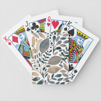 Neutral watercolor leaves bicycle playing cards