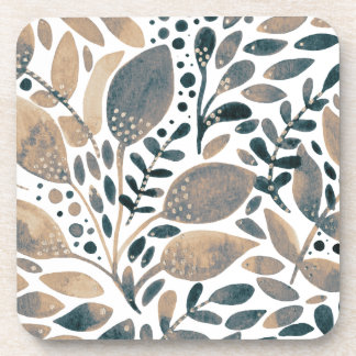 Neutral watercolor leaves coaster