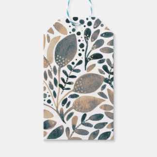 Neutral watercolor leaves gift tags