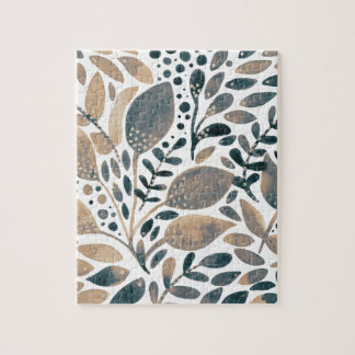 Neutral watercolor leaves jigsaw puzzle
