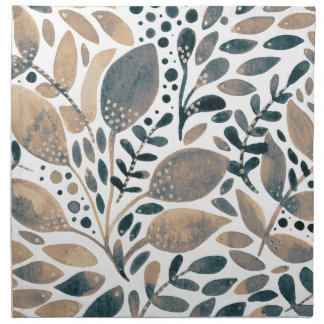 Neutral watercolor leaves napkin