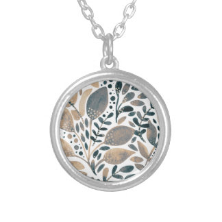 Neutral watercolor leaves silver plated necklace