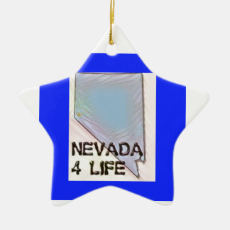 """Nevada 4 Life"" State Map Pride Design Ceramic Ornament"