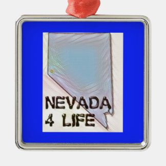 """Nevada 4 Life"" State Map Pride Design Metal Ornament"