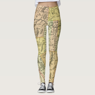 Nevada Antique Map Colorful State & Cities Leggings